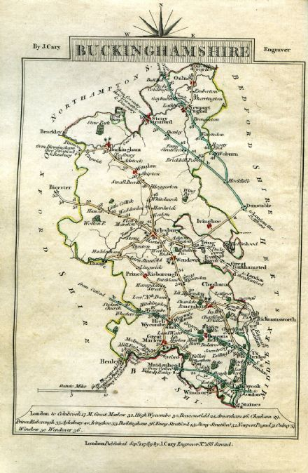 Buckinghamshire County Map by John Cary 1790 - Reproduction